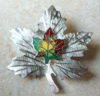 Vintage Bond Boyd Sterling Silver And Enamel Maple Leaf Brooch.
